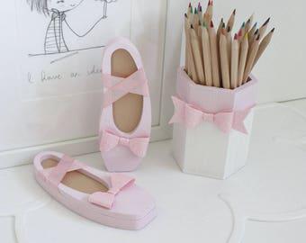 Wooden Pencil Pot - Glitter Bow, Pen Pot, Pencil Pot, Desk Storage, Tidy Tub, Pastel, Monochrome