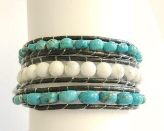 Wrap Bracelet, Leather Wrap Bracelet, Triple Wrap Bracelet, Blue and White Wrap Bracelet Southwestern Wrap Bracelet, Buffalo Nickle Bracelet