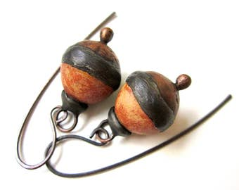 Doggerel - primitive modern artifact terracotta rust cream ceramic art bead, hollow textured copper, soldered black metal bauble earrings