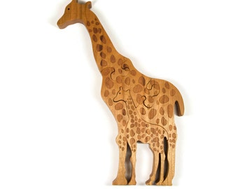 Wooden Giraffe Puzzle, Wood puzzle for children, wooden giraffe toy puzzle