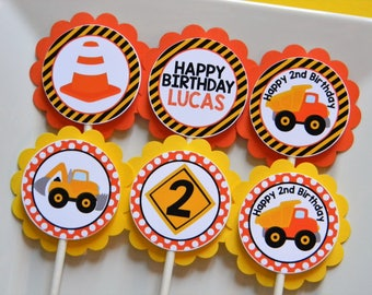 Construction Birthday Party Personalized Cupcake Toppers in Yellow, Orange and Black - Party Decorations - Party Supplies - Set of 12