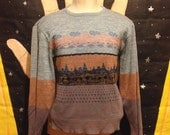 Cute 1960's-1970's mountain scene sweater, fits like a men's medium