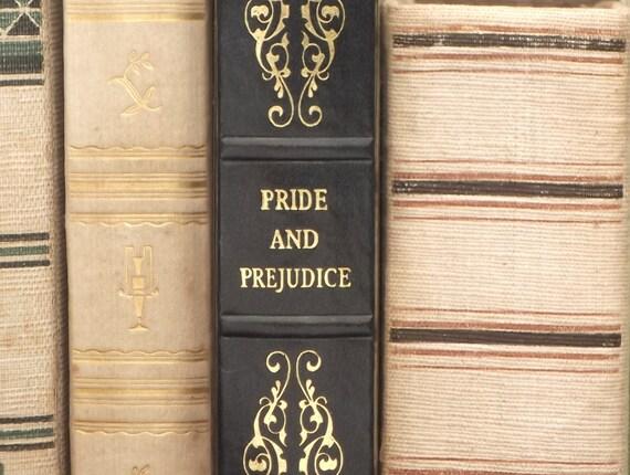 Jane Austen book Pride and Prejudice vintage book in faux leather binding, dark blue
