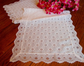 White Lace Table Runner Vintage Dresser Scarf
