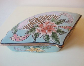 Fan Trinket Box Vintage Porcelain Jewelry Box Keepsake Collectible