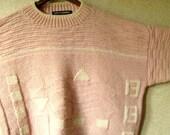 Oversized Sweater pink wool vintage 80s baggy loose boho pullover mori girl clothing hipster sweater women large mock turtleneck