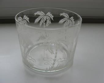SALE Vintage Ice Bucket// Palm Tree// Retro Bar Ware//Beach House//Tropical Decor//Retro Serving Ice Bucket//Wedding Supply