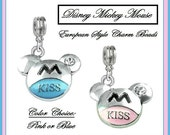 DISNeY - Cute MiCKEY MiNNIE MOUSE EaRS with CZ - KiSS - Choice PiNK or BLuE - Dangle Charm Bead or Pendant - fits European Bracelets - MD