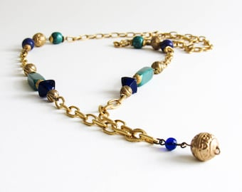 Diane Von Furstenberg Vintage Long Layering Beaded Gold Tone Necklace With Green & Blue Beads