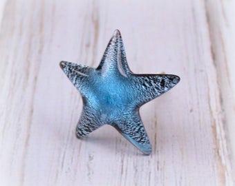 Blue Starfish Knobs, Starfish Knobs, Cabinet Knobs, Drawer Pulls, Nautical Knobs, Glass Knobs, Dresser Knobs, Beach House Decor, Blue Knobs