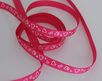 "3/8"" Grosgrain Ribbon with Hearts - 5 Yards of Shocking Pink with White Hearts"
