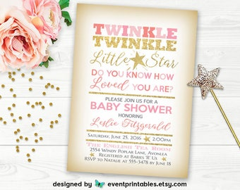 Twinkle Twinkle Little Star Baby Shower Invitation, Pink Gold Glitter Baby Shower Invitation, PRINTABLE Invitation by Event Printables