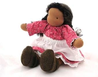 "16"" Waldorf doll //  natural fiber doll // dress up  brown skin girl doll // 16D2"