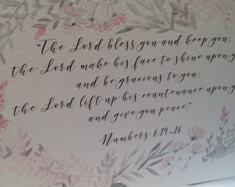 Customized Original Hand Painted Watercolor Scripture Art