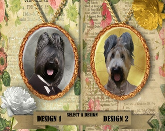 Briard Jewelry. Briard Pendant or Brooch. Briard Necklace. Briard Portrait. Custom Dog Jewelry by Nobility Dogs