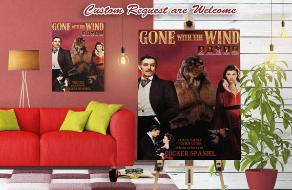 American Cocker Spaniel Art Vintage Poster Movie Style Canvas Print - Gone with the Wind  NEW COLLECTION by Nobility Dogs