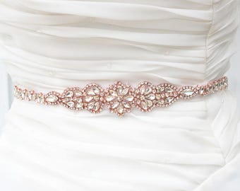 ROSE GOLD Wedding Belt, Bridal Belt, Sash Belt, Crystal Rhinestones sash belt