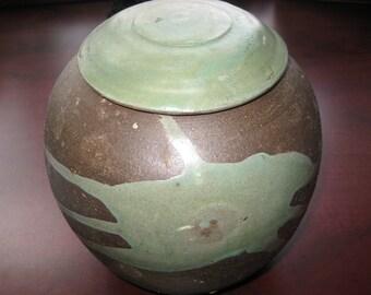 Vintage Stoneware Jug With Lid