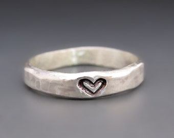 ONE Sterling Silver Heart Stacking Ring / Sterling Silver Love Ring / Valentine's Day Gift / Gifts for Her / Anniversary Gift / Silver Band