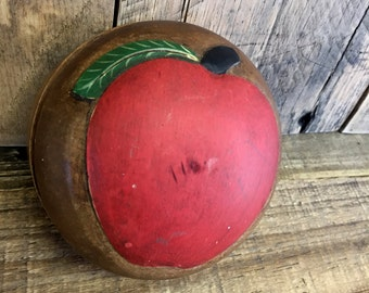 Vintage Wooden Apple Box, Hand Carved Red Apple Trinket Box, Small Wooden Apple Storage Box, Kitchen Decor, Home Office Storage, Jewelry Box