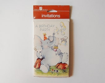 Elephant Birthday Party Invitations, Vintage Kid's 1980's Invites, Set of 8 Cards and Envelopes, American Greetings