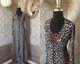 Women's Vintage 1960's 70's Leopard Print Jumpsuit Medium