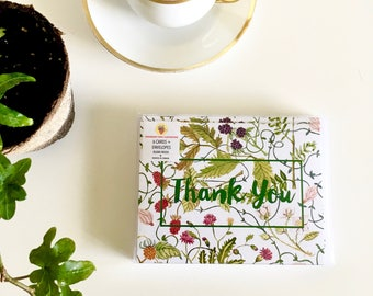 Box Set of 6 Thank You Cards - Botanical Watercolor Thank You Notecards - set of six cards with envelopes
