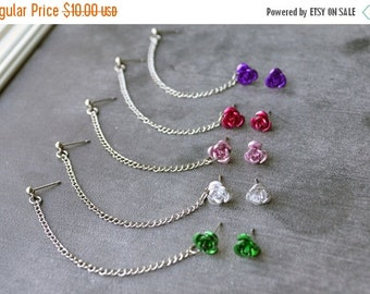 SALE Rose Single Chain Cartilage Earring (Pair) - SELECT COLOR