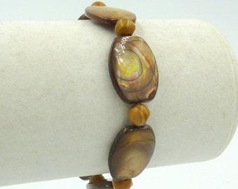 Amber Shell Bracelet, Jasper Bracelet, Boho Bracelet, Stretch Bracelet