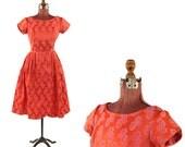 Vintage 1960's Red + Pink Rose Floral Brocade Satin Floral Print Cocktail Party Evening Dress S