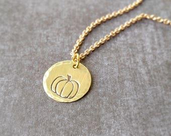 Golden Pumpkin Necklace - Morton Illinois Necklace - Brass Necklace - Morton Illinois Pumpkin Capital of the World - Sterling Silver Chain