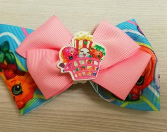 pink bow, Shopkins bow, hair accessories, pink hair clip, shopkins hair clip, childrens accessories