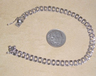 Vintage Sterling Silver Bracelet For Charms 1960's Signed Jewelry 2302