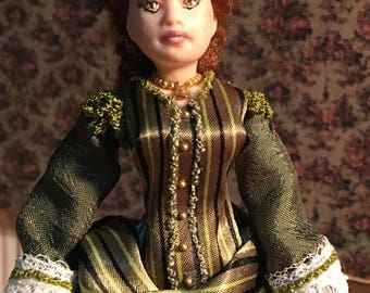 Miniature lady in victorian walking suit