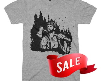 X-Large On Sale Lumberjack Tshirt Mens Lumberjack T Shirt Mountains Are Calling Camping Shirt Tees Gifts For Him Axe Bearded Beard - X-Large
