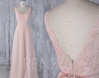 2017 Peach Chiffon Bridesmaid Dress, Lace V Neck Wedding Dress, Illusion Deep V Back Prom Dress with Belt, Prom Dress Floor Length (L295)