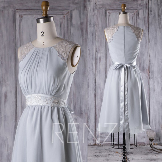 2017 light gray chiffon bridesmaid dress a line wedding dress for Light grey wedding dress