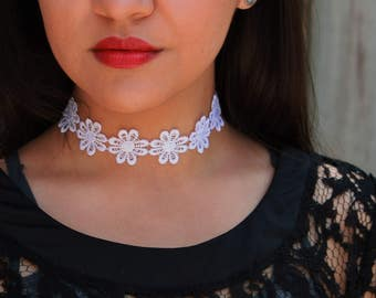 Lace White Flower Choker Necklace Music Festival Handmade