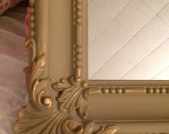 French Country ornate mirror, tan taupe with gold highlights, baby nursery wall decor