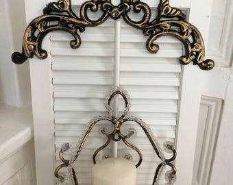 Antique wooden shutter decor, shabby chic candle holder