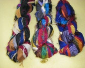Three Skeins Recycled Sari Silk Ribbon Yarn - handmade in India upcycled saree silk yarn, no. 2