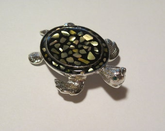 Beautiful Silver Tone Abalone Shell  Turtle Brooch Pin/Pendant Reptile Fun Jewelry