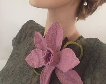 Big Beautiful hand felted flower for corsage, hair ornament, hat ornament or wear on your dress for maximum effect.
