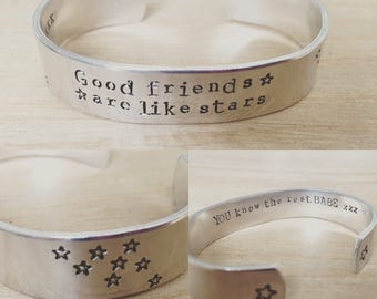 Good friends are like stars...cuff bracelet...