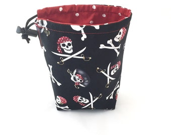 Pirates, Dice Bag, Draw String Bag, Free Standing, Revisable, Gamer Bag, D&D Dice Bag, Makeup Bag, Small Gift Bag, Pouch, RTS