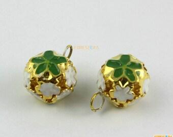 50Pcs 14mm Green Cloisonn Bells Jingle Bells Pet Bells Charm Bead (JTLLD14-SLV)