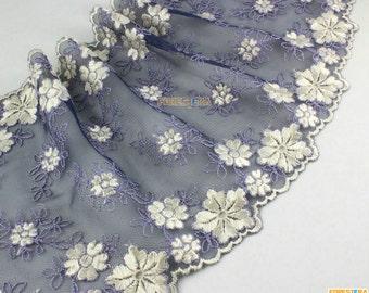 Terylene Lace Trim Dark Blue Tulle Lace Trim Floral Embroidery Lace Trim 16cm Width -- 2 Yards (LACE493)