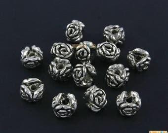 50Pcs Antique Silver Rose Flower Bead Rose Charm Rose Bracelet Bead Flower Pendant 8x6mm (PND1538)