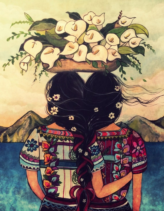 Art print sisters best friends  Guatemala