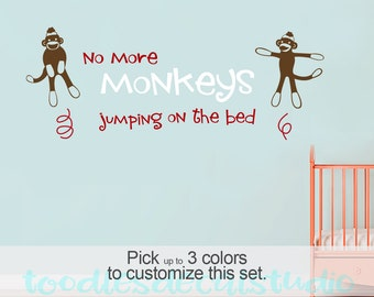 No More Sock Monkeys Jumping on the Bed Wall Art Quote for Boys and Girls Nursery